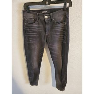 Express Black Distressed Cropped Legging Jeans